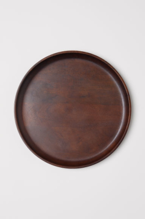 H & M - Large wooden tray - Beige