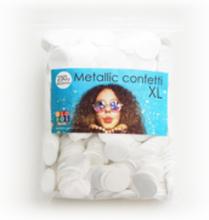 Confetti metallic rond 23mm - 250 gram - wit