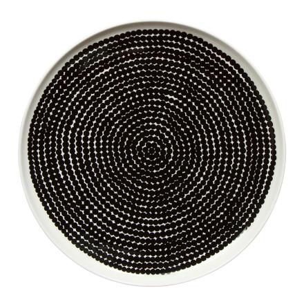 Räsymatto lautanen Ø 25 cm musta-valkoinen