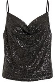 VILA Sequin Sleeveless Top Kvinna Svart