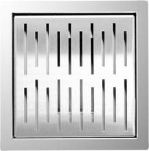 L'Aqua bruseafløb 20 x 20 cm firkantet rustfrit stål