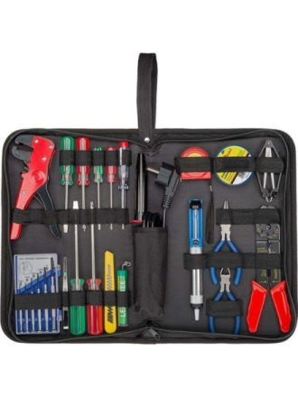 Tool bag with soldering set - 20-piece tool set in