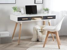 Beliani Työpöytä valkoinen/ harmaa FRISCO