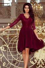 210-1 NICOLLE - sukienka z dłuższym tyłem z koronkowym dekoltem - BORD