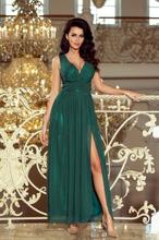 166-5 MAXI szyfonowa długa suknia z rozcięciem - ZIELEŃ BUTELKOWA