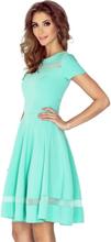 Mm 003-1 sukienka midi z tiulowymi pasami - miętowa