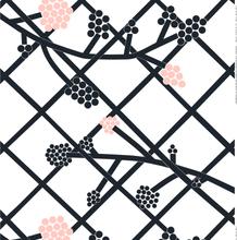 Hortensie kangas valkoinen-musta-vaaleanpunainen