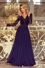 214-1 madlen długa suknia z koronkowym dekoltem i długim rękawkiem - g