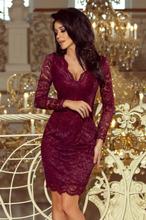 170-5 Sukienka koronkowa z długim rękawkiem i DEKOLTEM - BORDOWA