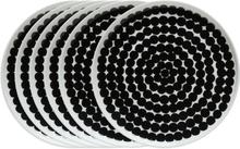 Räsymatto lautanen 20 cm, 6 kpl musta-valkoinen