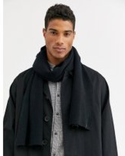 Selected Homme cotton scarf in black - Black