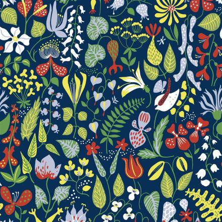 Herbarium tapetti sininen