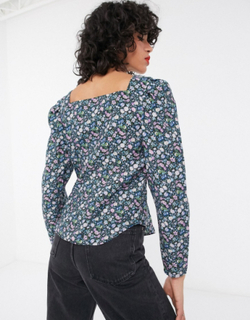 & Other Stories bold floral puff sleeve blouse in multi