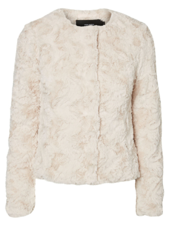 VERO MODA Short Faux Fur Jacket Women Grey