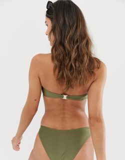 Miss Selfridge Exclusive bandeau bikini top with ring detail in khaki-Green