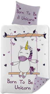 Unicorn baby sengetøj - Born To Be A Unicorn - 70x100 cm - 100% bomuld
