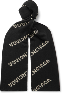 Logo-jacquard Virgin Wool And Camel Hair-blend Scarf - Black