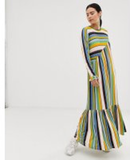 Mads Norgaard Forever Stripe midaxi dress - Multi