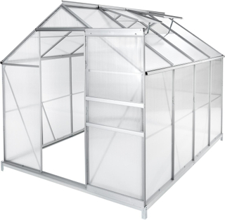 Tectake Växthus Aluminium/polykarbonat Med Fundament - 250 X 18 Transparent