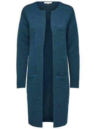 SELECTED Rib Knitted Cardigan Kvinna Blå