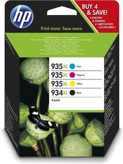 HP 934XL svart bläckpatron med hög kapacitet/935XL cyan/magenta/gul bläckpatron, original, 4-pack