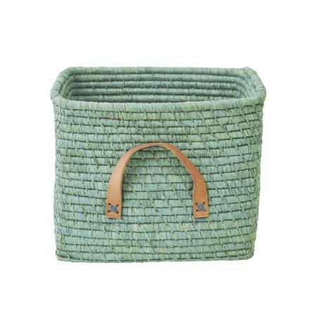 Förvaringskorg med läderhandtag, Mint Rice