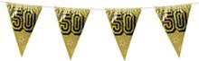 Holografische vlaggenlijn 8 m met het cijfer 50 goud