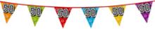 Holografische vlaggenlijn 8 m met het cijfer 50