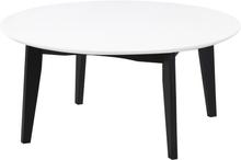 Björk runt soffbord i vit/svart Omk. 80 cm