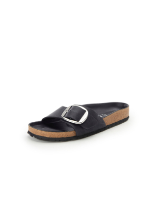 Slippers 'Madrid Big Buckle' Fra Birkenstock sort - Peter Hahn