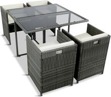 Platseffektiv matgrupp med 4 stolar i konstrotting