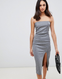 Miss Selfridge pencil dress with slip in silver