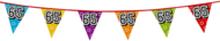 Holografische vlaggenlijn 8 m met het cijfer 65