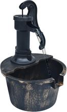 vidaXL Trädgårdsfontän tunna med pump