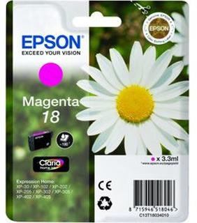 Epson T1803 M (C13T18034012) Magenta Blækpatron, Original 3,95ml