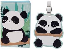 Reseset passfodral + bagagetag panda