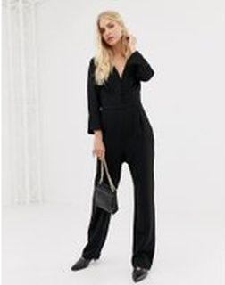 Y.A.S Plunge Wide Neck Jumpsuit - Black