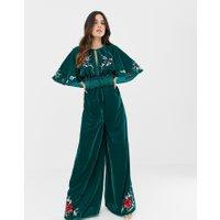 ASOS DESIGN - jumpsuit i sammet med kimonoärmar och broderi - Grön