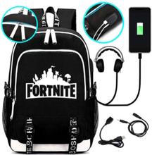 Fortnite Rygsæk - Vandtæt skoletaske med USB og hovedtelefoner