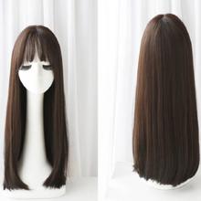Peruk / Långt hår 67cm - Brun Svart