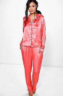 Esme Satin Button Through Shirt And Trouser Set