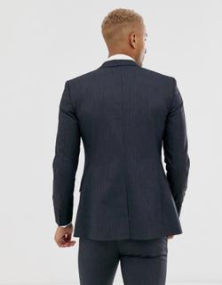Topman slim single breasted suit jacket in navy pinstripe