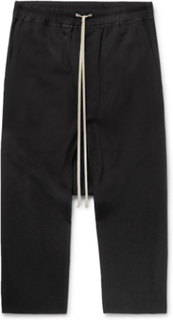 Wool-crepe Drawstring Trousers - Black