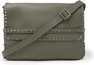 Valentino Garavani Rockstud Full-grain Leather Messenger Bag - Army green