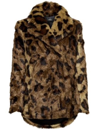ONLY Faux Fur Coat Women Brown