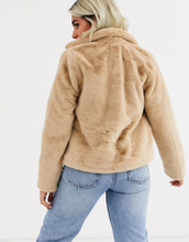 Only Petite faux fur jacket in sand-Black