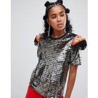 Ragyard T-shirt i paljetter med pärlområden - Silver