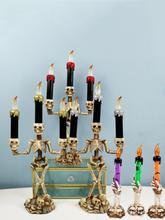 1 STÜCK LED Halloween Skelett Kerzenständer Geisterfest Horror Dekoration Requisiten Elektronische Kerze Lampe Kürbis La
