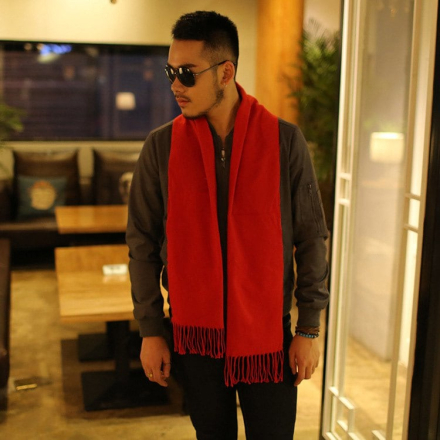 Autumn And Winter New Men's Scarves Solid Color Men's Cashmere Scarf Thickening Business Warm Scarf