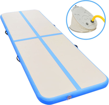vidaXL Oppblåsbar gymnastikkmatte med pumpe 300x100x10 cm PVC blå